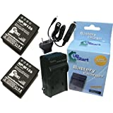 2x Pack - Fujifilm FinePix HS50EXR Battery + Charger with Car & EU Adapters - Replacement for Fujifilm NP-W126 Digital Camera Battery and Charger (1200mAh, 7.4V, Lithium-Ion)
