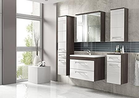 Cosmo 2 Bathroom Furniture Set / Full Bath 6-Pieces Set in High Gloss White / Avola Decor - with Washbasin 60 cm, Led Illumination - Washbasin 80 cm