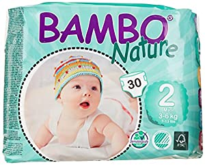 Bambo Mini Nappies (Size 2) 3-6kg, 6-13LB - 6 x packs of 30 (180 Nappies)