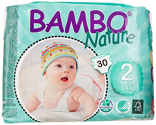Bambo Nature Premium Baby Diapers, Mini, Size 2, 30 Count (Pack of 6)