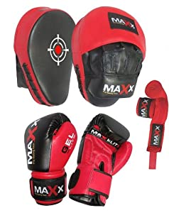 Blk/Red Curved Focus pads, Hook & Jab Pads with Gloves & FREE hand wraps (10oz Gloves)