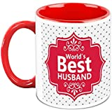 Gift For Him/Her - HomeSoGood World's Best Husband White Ceramic Coffee Mug - 325 Ml