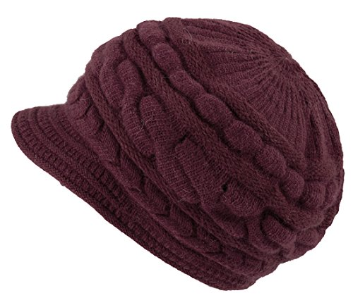 Jemis Peaked Cap Women Hat Winter Caps Knitted Hats for Woman (Dark Red) (Peaked Cap Women compare prices)