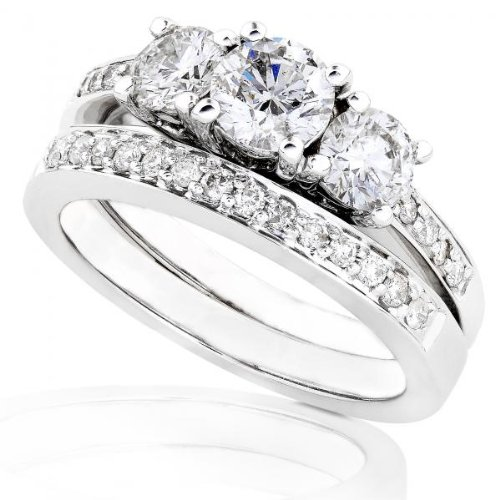 2 1/5 Carat TW Three Stone Round Diamond Wedding Ring Set in 14k White Gold (Certified)