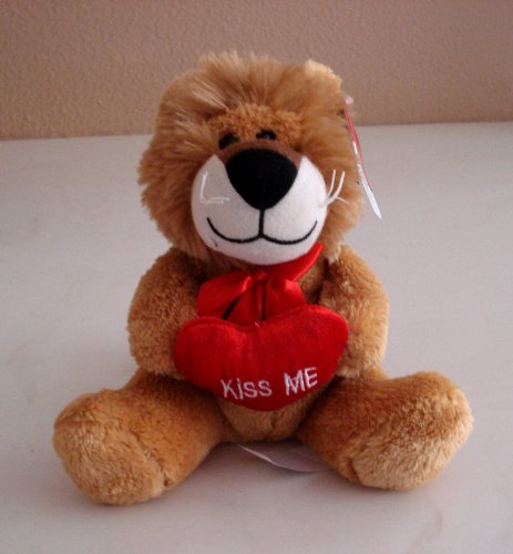 Lion Plush 8 Inches Tall Holding a Kiss Me Heart - 1