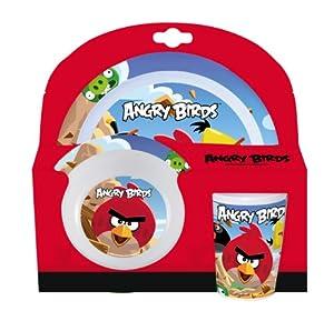 Angry Birds 737190 - Geschirr-Set aus Melamin, bestehend aus : Dinnerteller, Suppenteller und Becher, 3 teiliges, 27 x 9 x 26 cm