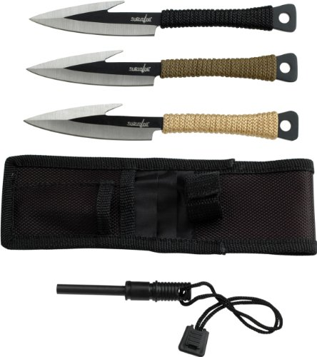 Survivor HK-753 Fixed Blade Knife Set 3-Piece 6-Inch Overall
