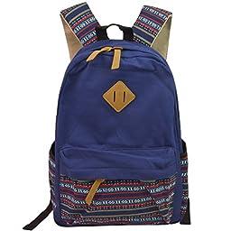 Hmxpls Unisex Fashionable Canvas Zip Bohemia Boho Style Backpack School College Laptop Bag for Teens Girls Boys Students, Blue