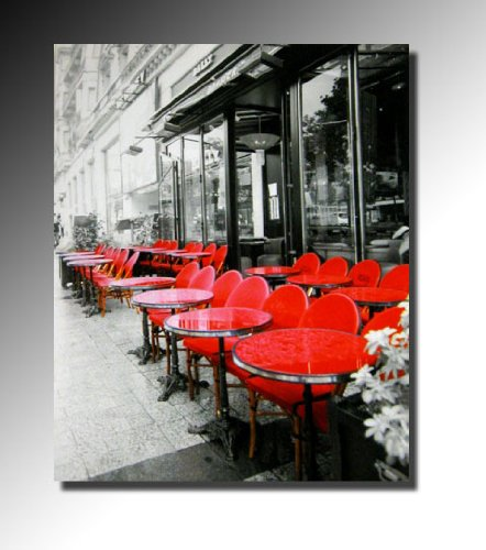 cadres tableau toile decorative paris brasserie en terrasse peinture a l huile chassis en. Black Bedroom Furniture Sets. Home Design Ideas