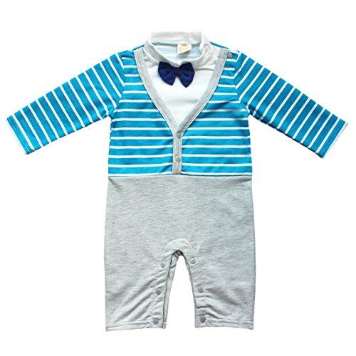 Baby Boys Formal Gentleman Bow Tie Tuxedo Striped Vest Romper (6-12 Months, Blue&White) front-1055334