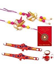 Ethnic Rakhi Designer Colorful Floral Pattern Fashionable And Stylish Bhaiya Bhabhi Mauli Thread And Beads Rakhi... - B01IIMF9CA
