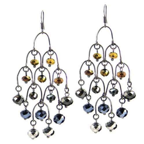 C.A.K.E. By Ali Khan Earrings, Hematite Plated Blue & Bronze Beaded Horseshoe Chandelier Earrings