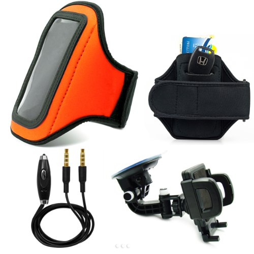 Orange Comfy Sport Band / Workout Armband Adjustable Neoprene Velcro Strap With Key Pocket For Motorola Razr V Android Smartphone + Includes A 3.5Mm To 3.5Mm Stereo Audio Cable With Built In Microphone + 360° Car Rotatable Windshield Mount Kit