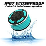 KONG KIM IPX7 100% Waterproof & Dust-proof Floating Bluetooth Shower Speaker Compatible with all Bluetooth devices including iPhone 6, 6s, and Samsung devices Color Black & Sky Blue
