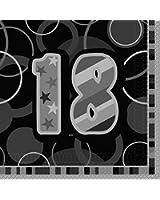 Serviettes 18 ans noires (x16)