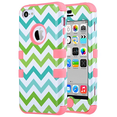 iPhone 5C Case, ULAK 3in1 Anti Slip IPhone 5C Case Hybrid with Soft Flexible Inner Silicone Skin Protective Case Cover for Apple iPhone 5C Green Wave + Coral Pink (Protective Pink Iphone 5c Case compare prices)