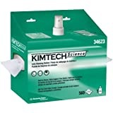 """Kimberly-Clark Kimtech Science 34623 Lens Cleaning Station POP-Up Box Disposable Wiper, 8-25/64"""" Length x 4-25/64"""" Width, White (4 Packs of 2)"""