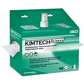 "Kimberly-Clark Kimtech Science 34623 Lens Cleaning Station POP-Up Box Disposable Wiper, 8-25/64"" Length x 4-25/64"" Width, White (4 Packs of 2)"