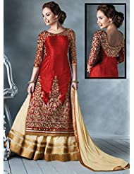 Red Bhagalpuri Silk Lehenga Suit