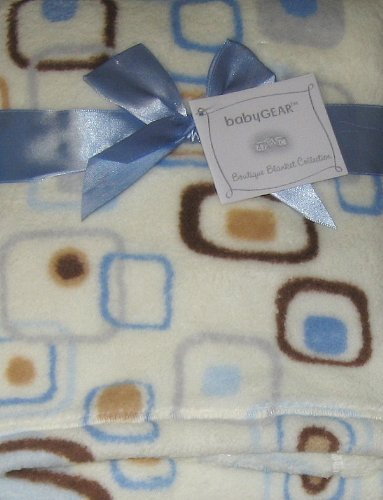 BabyGear Cream with Brown and Blue Squares and Circles Baby Blanket - 1
