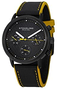 Stuhrling Original Men's 514.02 Concorso Obscure Quartz Multifunction Yellow Accent Watch