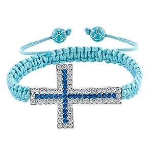 Pugster Sapphire Blue White Crystal Cross Aquamarine String Adjustable Bracelet
