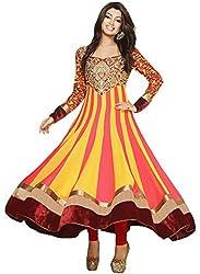 Orange Fab Women's Georgette Flared Anarkali Suit Dress Material