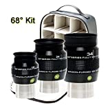 Explore Scientific 16, 24 and 34mm Argon-Purged Waterproof Eyepiece 68 degree Set with EPWP68 KIT (Color: Black/Silver)