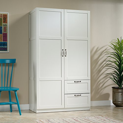 Sauder Large Storage Cabinet, Soft White Finish (Sauder Wardrobe Cabinet compare prices)