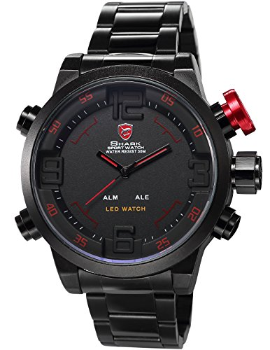 SHARK SH105メンズ LED表示 日付・曜日表示 ブラック ステンレススチール スポーツ アーミ―腕時計