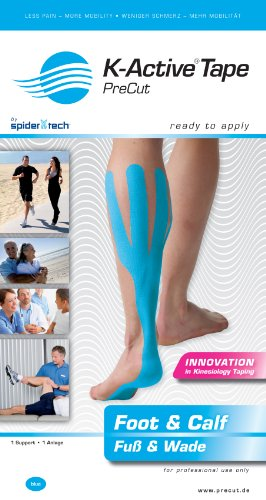 K-Active Advanced Pre-Cut Calf & Foot Kinesiology Tape - Blue