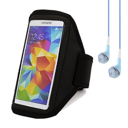 Outdoors Sports Gym Running Armband Case Pouch For Samsung Galaxy S5 / Htc One M8 / Sony Xperia Z2 (Black) + Blue Vangoddy Headphones With Mic