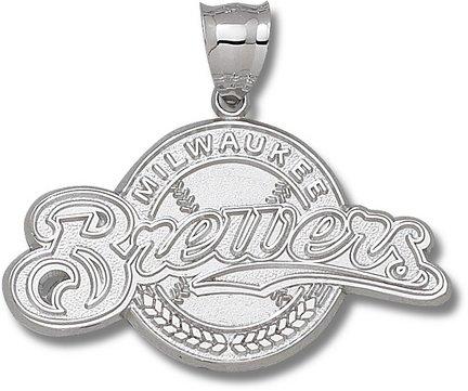 Milwaukee Brewers Baseball Giant Silver Pendant