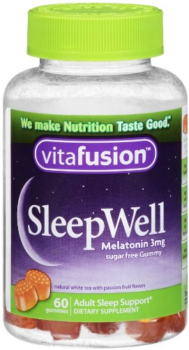 Vitafusion Sleep Well Gummy Sleep Support, 3 mg of melatonin, 60 Count (Pack of 2)