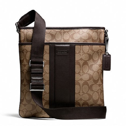 Coach   Coach Men's Heritage Signature Small Zip Top Crossbody Bag - 71131 Brown