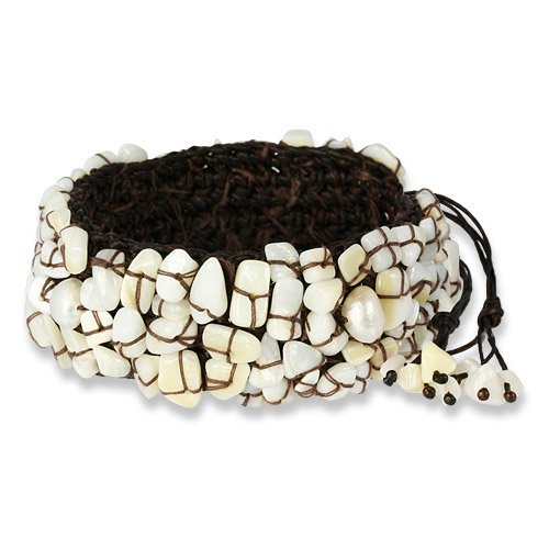 SilberDream Bangle - bracelet with white stones and white cultured pearls woven high - fits 6.3'' to 10.2'' - Women Bracelet SDA019