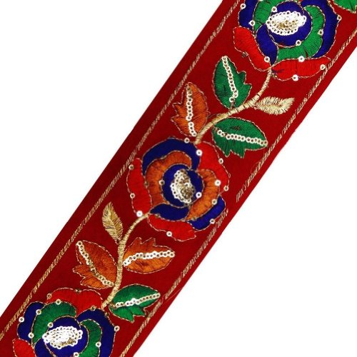 Red Ribbon Fabric Base Trim Flower Design Sequin Border Lace Sewing Craft India 3 Yd
