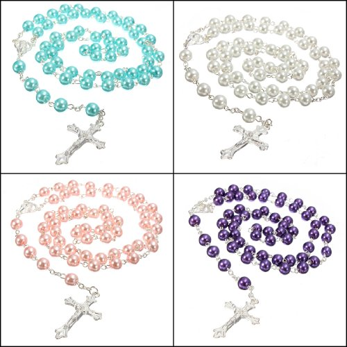 Long Rosary Chain Imitate Pearl Ball Beads Pendant Necklace W Silver Drop Cross