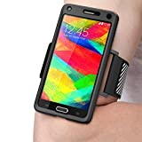 Samsung Galaxy Note 4 Case, SUPCASE Easy Fitting Sport Running Armband for Galaxy Note 4 (2014 Release) with Premium Flexible Case Combo (Black)