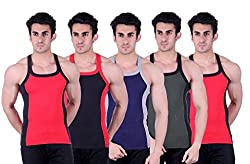 Zimfit Superb Gym Vests - Pack of 5 (RED_BLK_BLU_GRN_RED_85)