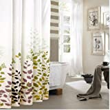 """Eforgift 72"""" X 78"""" Inch Printed Leaves Waterproof Non-mildew Shower Curtains Polyester Fabric Bathroom Curtain with Free Rings, Beige and Coffee"""
