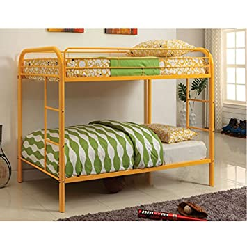 Vibrant Delilah Twin-Over-Twin Bunk Bed with Dual Ladder