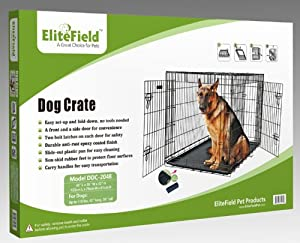EliteField Two Door Folding Dog Crate with RUBBER FEET, 5 Sizes, 10 Models Available, FREE Shipping by EliteField