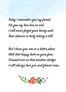 Pet Loss Gifts Card With Rainbow Bridge For Cat Theme Poem Great Loss of Pet Gifts and Sympathy Cards for Loss of Pets