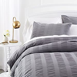 Pinzon Seersucker Duvet Cover Set - King, Platinum
