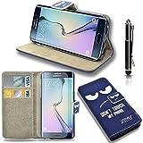 GBOS® Véritable Wallet flip book Protecteur d'écran Housse Pouch + rétractable tactile Stylet + Apple iPhone 6 Plus / 6 / 5S / 5 / 5C / Samsung Galaxy S6 Bord / S6 / S5 / S4 / Core Premier / Note 4 - Don ' t Touch My Phone...