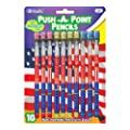 Bazic US Flag Push A Point Pencil, 8 per Pack (Case of 24)