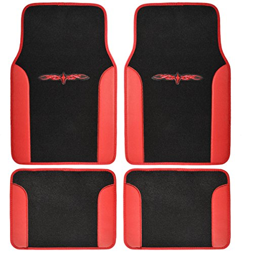 A Set Of 4 Universal Fit Plush Carpet With Vinyl Trim Floor Mats For Cars / T... front-533734