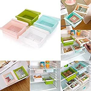 1 Pc Evana 1.75 Liters Sliding Organizer Rack For Refrigerator Fridge Multi purpose Office Table , Kitchen Bathroom Cabinet Portable Slider Basket Drawers Storage Cabinet Box