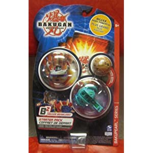 Bakugan Battle Brawlers B2 Bakupearl Series Grey PREYAS, Green Limulus and Brown Mystery Marble